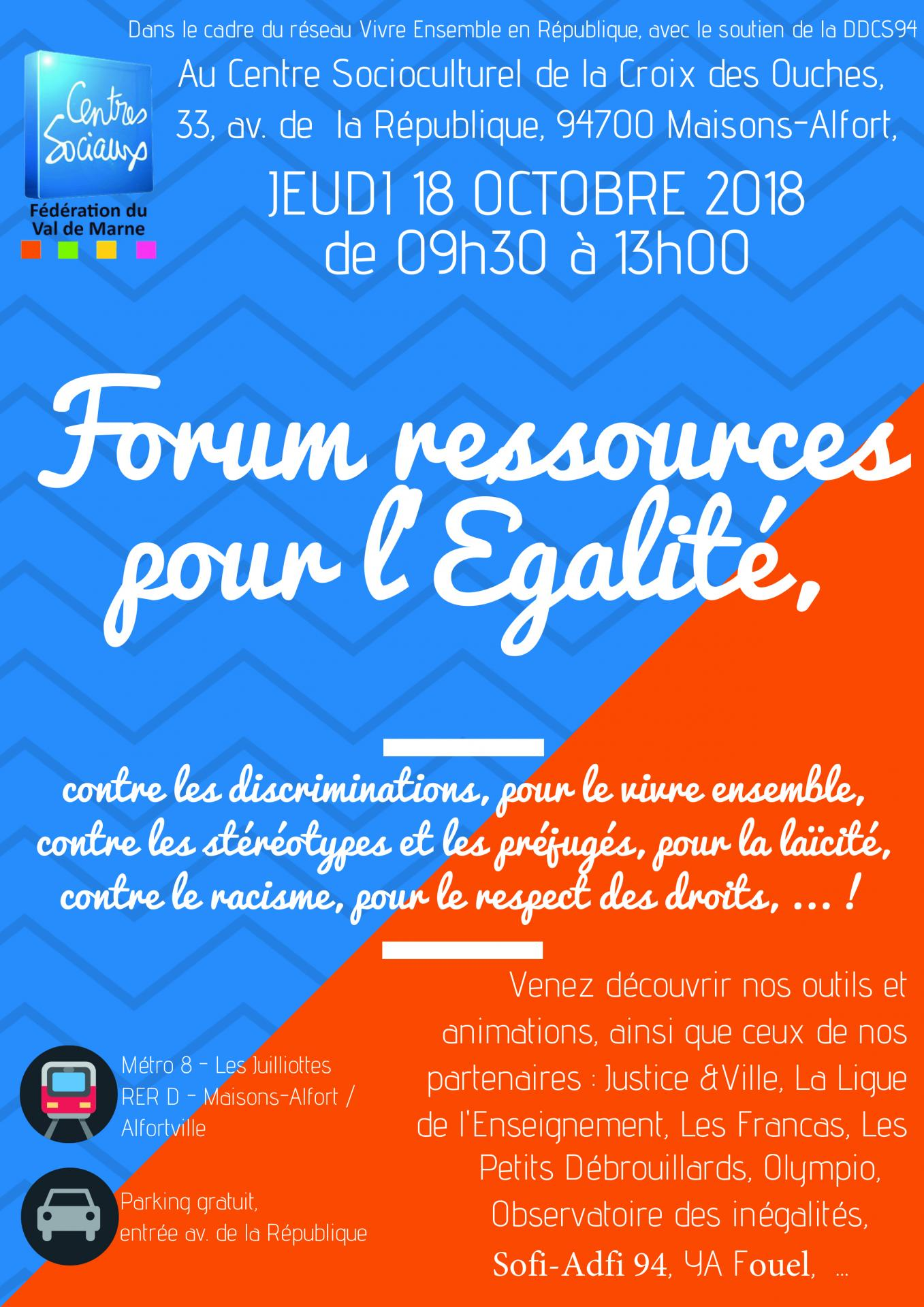 Invitation forum ressources egalite 18 octobre 1