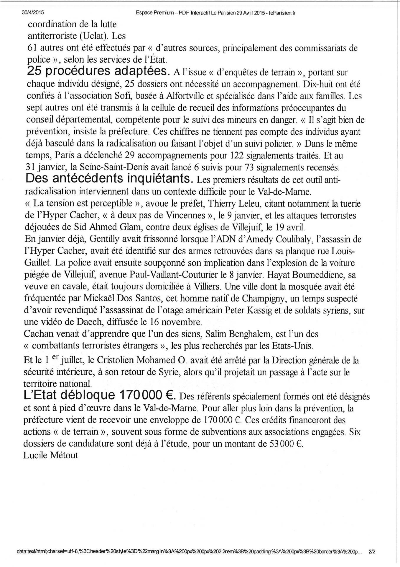 Le parisien 2015 04 29 terrorisme page 6
